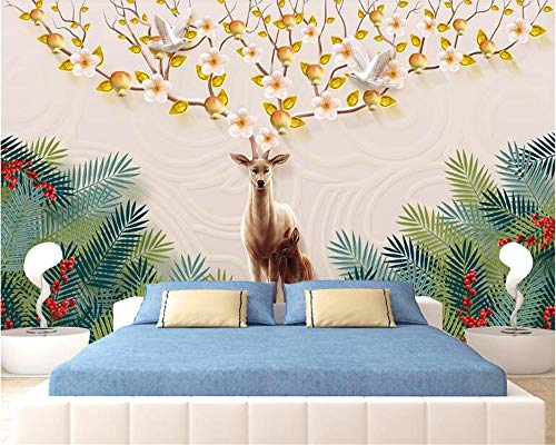 Fashion Personality Decoration Three-Dimensional Waterproof Wallpaper Money Tree Elk Background Wall Painting behang Speedcoming x1134-200x140cm/79'x 55'