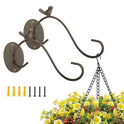 Lewondr Wall Hanging Plant Bracket, [2 Pack] 9.5 Inch Retro Outdoor Indoor Garden Hook Décor Iron Decorative Plant Brackets with Screws for Bird Feeder Wind Chime Lantern, Bird 02 - Black