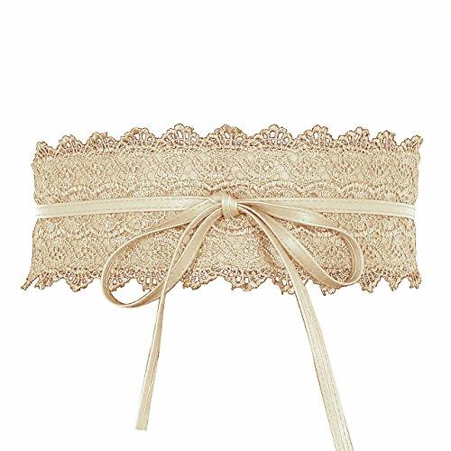 CHIC DIARY Damen Vintage Gürtel mit Spitze Breiter Taillengürtel Hüftgürtel Bindegürtel Wickelgürtel/Beige