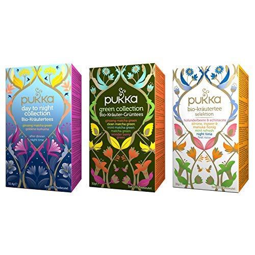 Pukka Bio-Tee Kollektionen mit der Day to Night Collection, der Green Collection und der Kräutertee Selektion von Pukka. Auswahl an Bio-Kräutertees und Bio-Grünen Tees (3 Teepackungen à 20 Teebeutel)