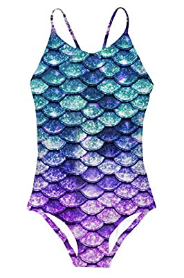 6 Years Old Girls One-Piece Swimsuit Summer Quick Dry Halter Mermaid Bathing Suits Breathable Mesh Bikini Swimwear 5-6 Years
