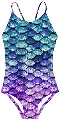 AIDEAONE Mermaid One Piece Swimsuit for Big Girls Quick Dry Swimming Suits Slim Fit Bathing product image