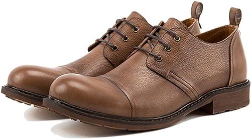 Liabb De los hombres zapatos de Cuero Hechos a Mano del Casual Genuino ata Sube zapatos de Cuero de zapatos de Dedo Gordo del pie para Derby Vestido Formal Calzado Calzado,B,38