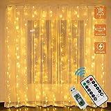 LED Lichtervorhang,3m x 1m 100 LEDS USB Lichterkettenvorhang,8 Modi mit Fernbedienung,Lichterkette für Schlafzimmer, innen außen Dekoration, Party Hochzeit Weihnachten Geburtstag Garten (3x1m)