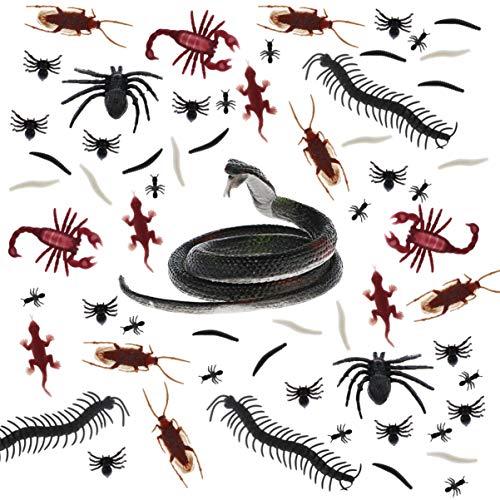 Toyvian 169 Stücke Realistic Schlangen mit Insekten Plastik Spielzeug Schlangen, Spinnen, Skorpione, Geckoes, Tausendfüßler und Worms für Halloween Deco