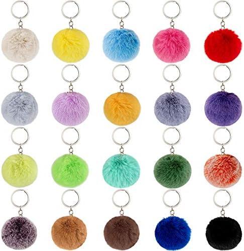 BQTQ 20 Pieces Pom Poms Keychain Fluffy Balls Rabbit Faux Fur Pom Pom Key Chain Puff Pom Poms product image