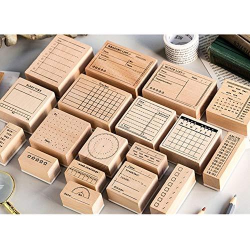 Stempeln mit verschiedenen Ornamenten für Kunst und Handwerk mit Holzgriff Geschenk Brief Karten DIY Tagebuch Sammelalbum, Stempel Ornamente, Holzstempel, Scrapbooking (Kalender (Monat))