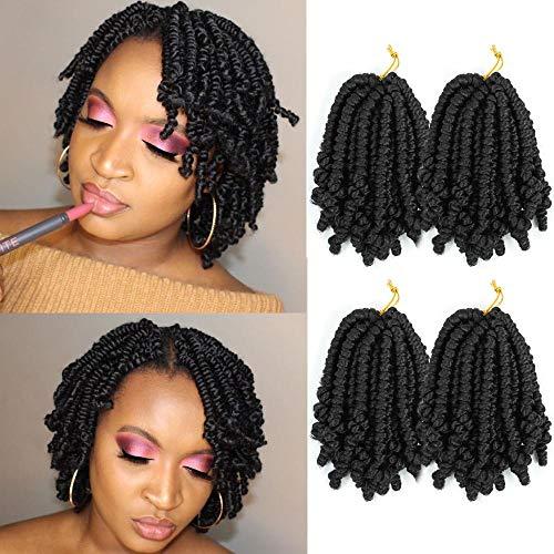 LYbeauty Spring Twist Hair 4 Packs/Lot 8 Inch Short Bob Pretwisted Spring Twist Crochet Hair Fluffy Curly Crochet Braids Synthetic Braiding Hair Extensions (Pack of 4, 1B)