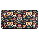 ALAZA Day of The Dead Skull Daisy Non Slip Kitchen Floor Mat Kitchen Rug for Entryway Hallway Bathroom Living Room Bedroom 39 x 20 inches(1.7' x 3.3')