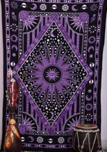 Tapiz hippie psicodélico celestial mandala luna sol tapiz para colgar en la pared, ideal indio, bohemio, hippie