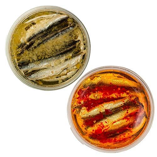 Food-United Fisch-Set – SARDELLEN-FILETS - 2 x 280g - Zitrone & Rote-Chili-Paprika - Anchovis-Boquerone für Oriental-Pizza-Eintopf-Nudeln-Antipasti-Aufläufe saftig-zart