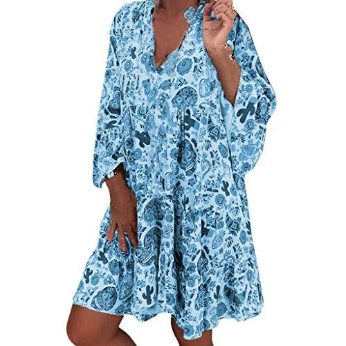 LOPILY Frauen Große Größen Blumenmuster Kleider Boho Stil Übergröße Sommerkleider Blumendruck Knielang Kleid Kurzarm Kleid Tunika Swing Kleid (Blau, 54)