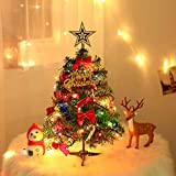 Navidad Pequeño Nevado Pino,Navidad Micro Paisaje,Mini árbol de Navidad,pequeño árbol de Navidad,Árbol de Navidad Artificial,Mini Árbol Navidad con Luces Adornos,Manualidades Navideñas (B)