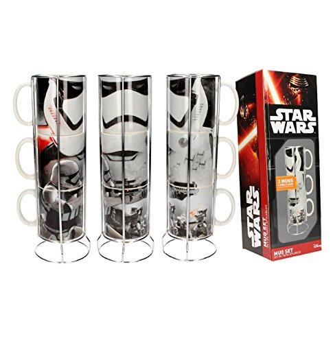 SD toys Star Wars Set de Tazas Apilables Stormtroopers, Cerámica, Gris, 12 cm