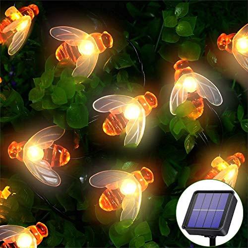 Guirnalda Luces Exterior Solares,Oreunik 9M 66LED Cadena de Luces Impermeable y 8 Modos, Decorativa para Interiores y Exteriores,Jardín, Navidad, Terraza, Patio, Bodas, etc. (Lámpara de abeja)