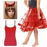FashioN HuB Conjunto de accesorios para niñas con tutú de 2 capas y falda de lentejuelas para diablo, talla grande