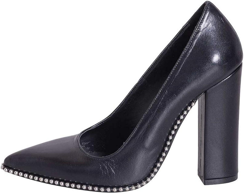 Damenschuhe mit Absatz Absatz aus echtem Leder schwarz Größe 41 Made in  mit Nieten auf Sohle EBN41-01  offizielle Genehmigung