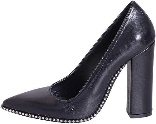 Chaussure avec Le Talon en Cuir véritable Noir Nombre 39Made in  avec profils de Rivets sur Semelle ebn39 01