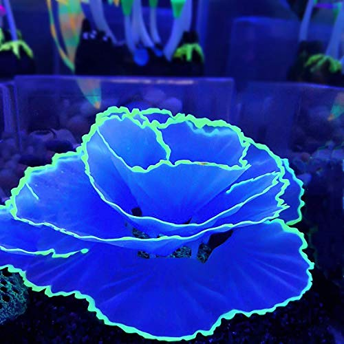 HIAHA Aquarium Silikon Künstlich Leuchtende Koralle, Home Silikon Pflanzen Ornamente Landschaftsdekoration Für Aquarium Blau