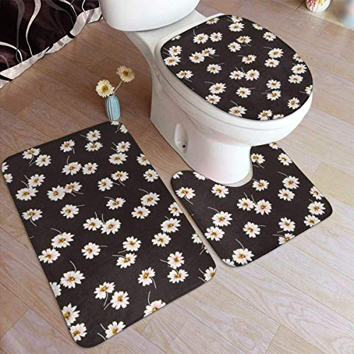 ingshihuainingxianruangangs White Daisy Seaml - Juego de almohadillas antideslizantes para baño (3 piezas, alfombrilla de baño y alfombrilla de contorno + tapa de inodoro)