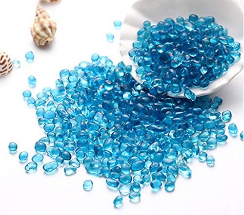 ZLDFAN Glaskiesel, runde Steine, eingelegt mit Goldnuggets, zur Dekoration von Aquarien oder Aquariumspiegeln, Gartenrahmenvasen 1 kg-Bunte Perlen des Meeresbodens hellblau