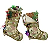Shappy Tactical Christmas Stocking Molle Gear Dump Pouch Storage Bag Military Style Christmas Ornament for Home with Flag D-Ring Clips Elastic Rope (Camouflage)