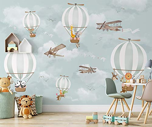 Murwall Kids Wallpaper Hot Air Balloon Animals Wallpaper Kids Wall Mural Airplane Wall Art Nursery Wall Decor Boys Bedroom Girls Bedroom Playroom