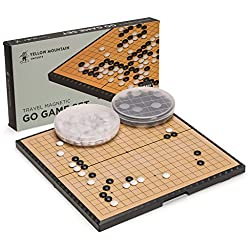 Magnetic Go Game Set with Single Convex Magnetic Plastic Stones and Go Board, 11.3 x 11.2 Inches