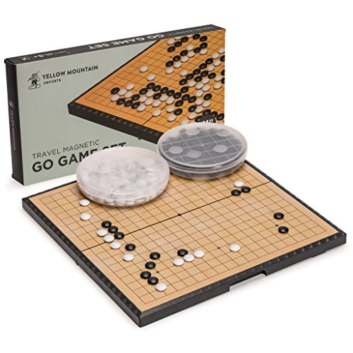 Yellow Mountain Imports Medium Magnetic 19x19 Go Game Set Board (11-Inch) with Single Convex Plastic Go Stones - Folding, Portable & Travel-Size Set