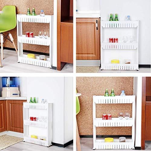 Organizador de productos deslizante con ruedas 3 estantes pa