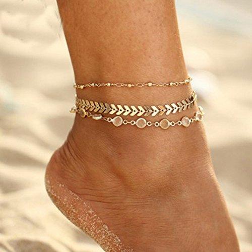 Bbl345dLlo Tobillera plata de Tobillo para mujeres, 3 piezas de oro pulsera de tobillo de playa de múltiples capas de imitación de cristal de hueso de pescado de hueso - dorado