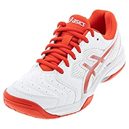 ASICS Women's Gel-Dedicate 6, White/Fiery Red, 5 Medium