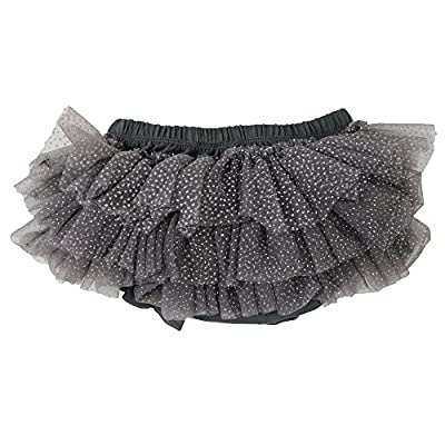 juDanzy Ruffle Chiffon or Satin Tutu All Around Bloomer Diaper Cover (0-6 Months, Charcoal Sparkle)