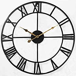 Evursua 24 inch Large Home Decor Wall Clock for Living Room Non Ticking Iron Art Clocks Roman Numeral,Retro Distressed Metal,Oversized (Black)