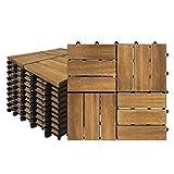 Hengmei, piastrelle in legno balkon, 30 x 30 cm, con sistema a clic, set da 22 pezzi per 2 m², con drenaggio per esterni, giardino, terrazza, modello B