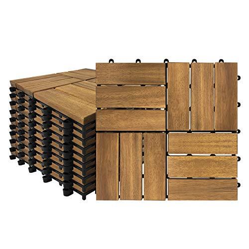 Aufun Holzfliesen Balkon 30 x 30 cm Akazien-Holz Terrassenfliese Balkonfliesen Klickfliese, Bodenbelag, Drainage, Garten Klick-Fliese, Modell B: 2m² (22 Stück)