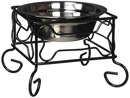 YML 5-Inch Wrought Iron Stand with Single Stainless Steel Feeder Bowl