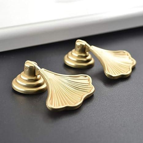 KGMIXL Multipurpose Nordic style ginkgo leaf brushed brass gold leaf-shaped cabinet handle door handle furniture handle golden handle for Cabinet door drawer door