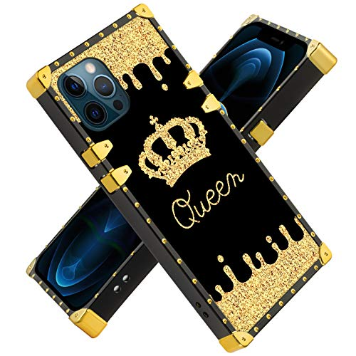 Fiyart iPhone 12 PRO MAX 6.7 INCH 2020 Case Gold Queen Luxury Square Soft TPU and Hard PC Back Stylish Retro Cover