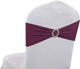 mds Pack of 25 Spandex Chair Sashes Bow sash Elastic Chair Bands Ties with Buckle for Wedding and Events Decoration Lycra Slider Sashes Bow - Eggplant