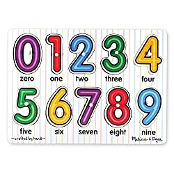 EASY-TO-GRASP PUZZLE: This wooden puzzle includes 10 pieces for numbers zero through nine with easy-grasp pegs to reveal a picture under each piece. SKILL-BUILDING: Helps promote number recognition and counting skills. GREAT FOR AGES 12 MONTHS AND UP...