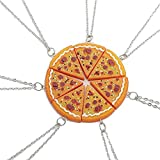 JewelBeauty 7pcs/lot Bling Silver Friend Friendship Couple Pizza Metal Necklace (7pcs)