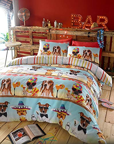 BAR DOGS Summer cocktail fun Duvet cover set, includes pillow case(s) (Single set)