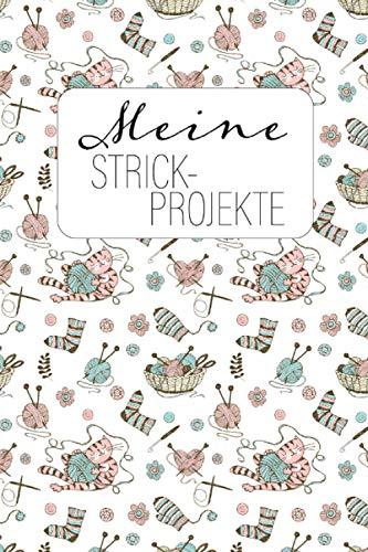 Meine Strick-Projekte: Projekt-Notizbuch Stricken und Häkeln Katze weiß | Projektdetailseiten, Strickmusterpapier und Sockentabellen | Übersicht über Handarbeiten
