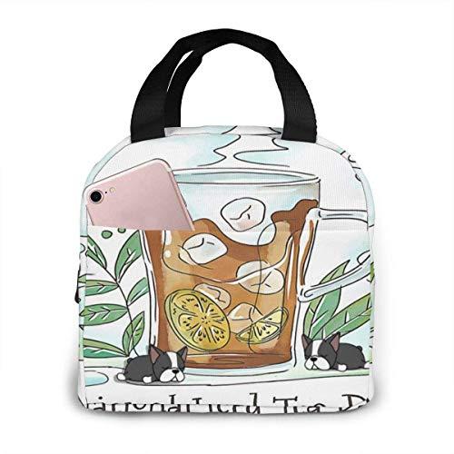Bonito vaso de té helado con lima y hojas impermeable aislante, bolsa de almuerzo reutilizable para el almuerzo térmica con bolsa de bolsillo para la escuela, trabajo, viajes al aire libre