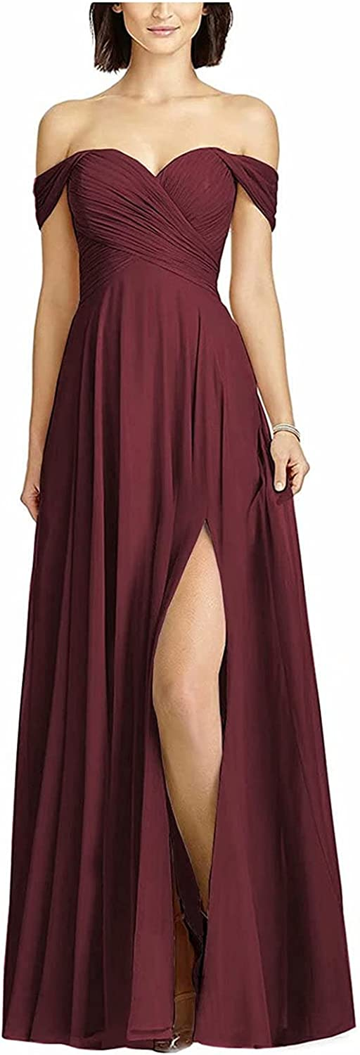 WHZZ Women's Sexy Off Shoulder Bridesmaid Dresses with Slit Wedding Party Prom Evening Dress Long Chiffon Formal Gown