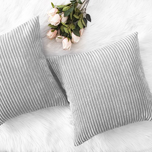 HOME BRILLIANT Decor Throw Pillows Striped Velvet Cushion Cover for Chair Decorative Pillowcase, Set of 2, Light Grey, 18