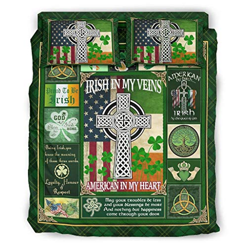 Beds irish in my veins american in my heart st patricks day Cross 4 Piece Bed Sets Luxury - 4 Piece King Beds Sets white 228x228cm