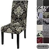 Housse de chaise de maison Yisun - Style moderne - En Spandex - Housses pour chaise haute - 4 à 6 housses, Dark Brown/Flower Pattern, 4 PCS/Packet
