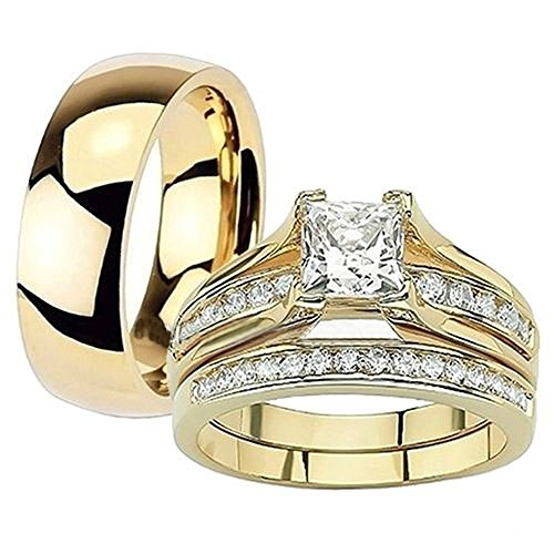Marimor Jewelry Her & His 14K G.P. Stainless Steel 3pc Wedding Engagement Ring & Men's Band Set